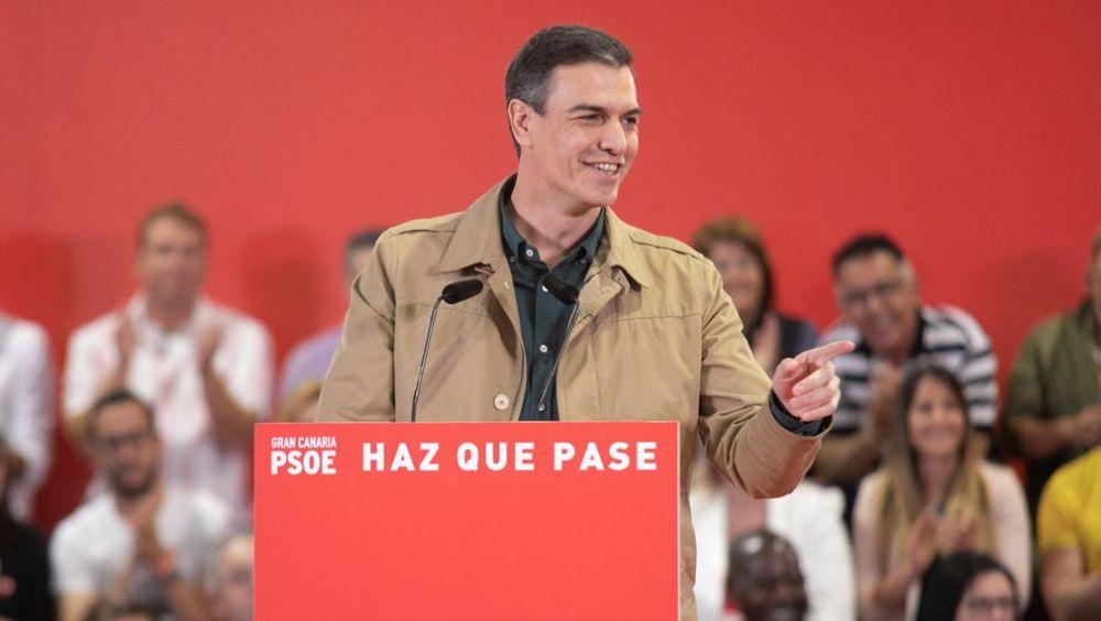 Pedro Sánchez, secretario general del PSOE, durante un mitin.