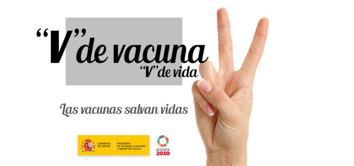 """Imagen de la campaña del Ministerio de Sanidad """"V de vacuna, V de vida""""."""