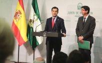 Juanma Moreno y Juan Marín, presidente y vicepresidente de la Junta de Andalucía.