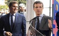 Albert Rivera (Ciudadanos), Pablo Casado (PP) y Santiago Abascal (Vox)