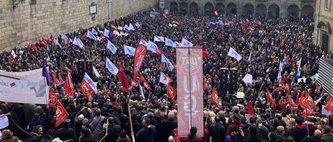 Imagen de una de las manifestaciones en defensa de la sanidad pública celebradas este invierno  en Santiago de Compostela.