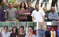 Investigadores de los tres grupos del CIBER que han participado en el trabajo. Arriba investigadores CIBERDEM en el Hospital Sant Pau. Abajo investigadores CIBERCV en el CNIC (izquierda) y en la Fundación Jiménez Día