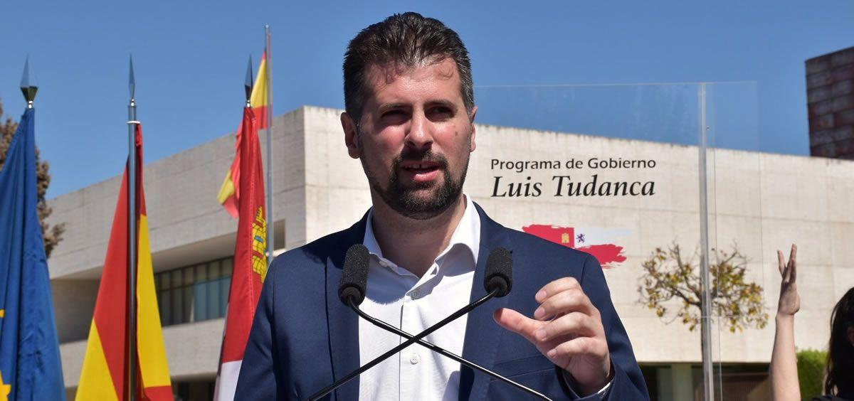El candidato del PSOE a la Presidencia de la Junta de Castilla y León, Luis Tudanca, durante el acto de presentación de su programa de gobierno.
