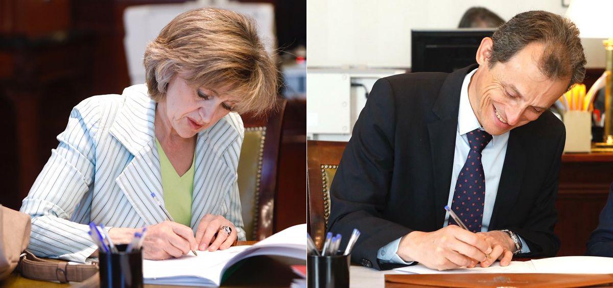 María Luisa Carcedo y Pedro Duque, ministros de Sanidad y Ciencia en funciones, recogiendo su acta como diputados.