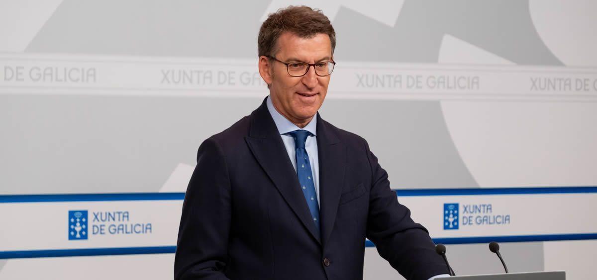 El presidente de la Xunta, Alberto Núñez Feijóo, durante la rueda de prensa posterior al Consejo de Gobierno.