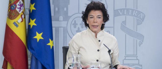 Isabel Celaá, portavoz del Gobierno en funciones.