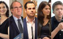 Isabel Díaz Ayuso (PP), Ángel Gabilondo (PSOE), Ignacio Aguado (Ciudadanos), Isabel Serra (Podemos), Íñigo Errejón (Más Madrid) y Rocío Monasterio (Vox).
