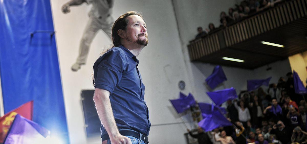 El secretario general de Podemos, Pablo Iglesias, en un acto electoral