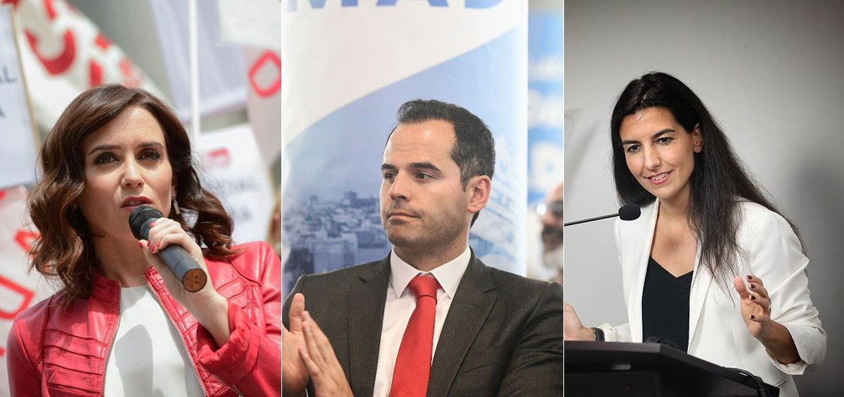 De izquierda a derecha: Isabel Díaz Ayuso (PP), Ignacio Aguado (Ciudadanos) y Rocío Monasterio (VOX), máximos representantes del bloque que ha ganado las elecciones en la Comunidad de Madrid