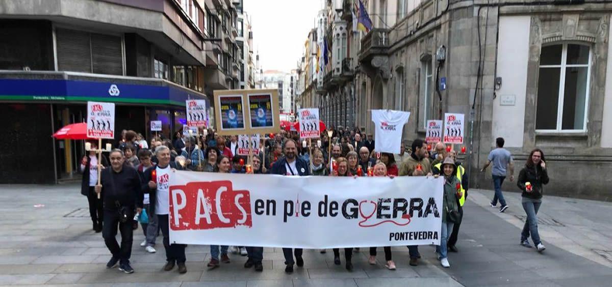 Manifestación de los trabajadores de los Puntos de Atención Continuada (PAC) en Pontevedra.