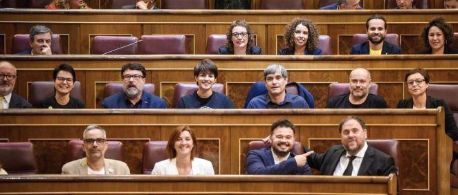 Diputados de ERC en el Congreso de los Diputados durante el pleno de constitución.