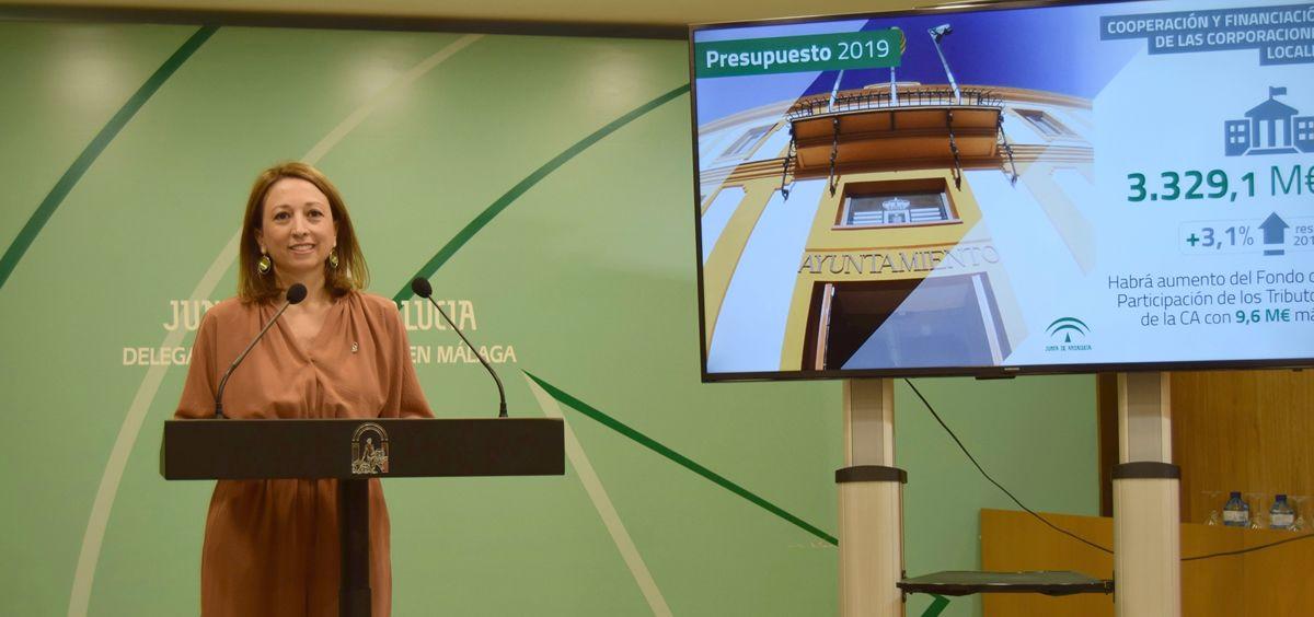 La delegada del Gobierno de Málaga, Patricia Navarro, en la presentación de los presupuestos
