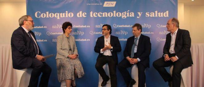 De izquierda a derecha: Juan Blanco, Mercedes Herrero, Julio Mayol, Antonio López Farré y Fidel Campoy, durante el 'Coloquio de tecnología y salud' organizado por PSN y ConSalud.es
